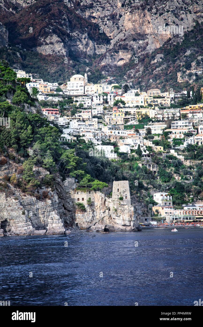 Positano on the Amalfi coast in Campania, Italy. - Stock Image