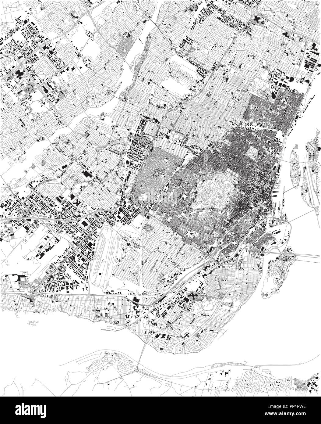 Map of Montreal, satellite view, black and white map. Street ...