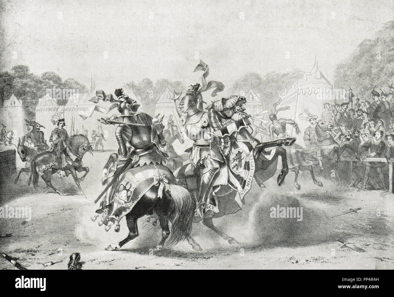 The Eglinton jousting Tournament of  30 August 1839.  A re-enactment of a medieval joust and revel. The joust between Viscount Alford and the Marquess of Waterford, the Knight of the Black Lion versus the Knight of the Dragon - Stock Image