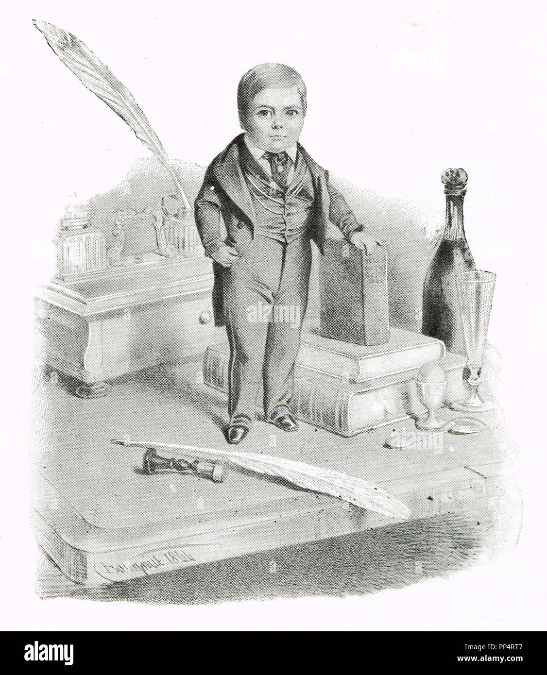 Charles Sherwood Stratton, better known by his stage name General Tom Thumb, in 1844,  on a visit to Queen Victoria - Stock Image