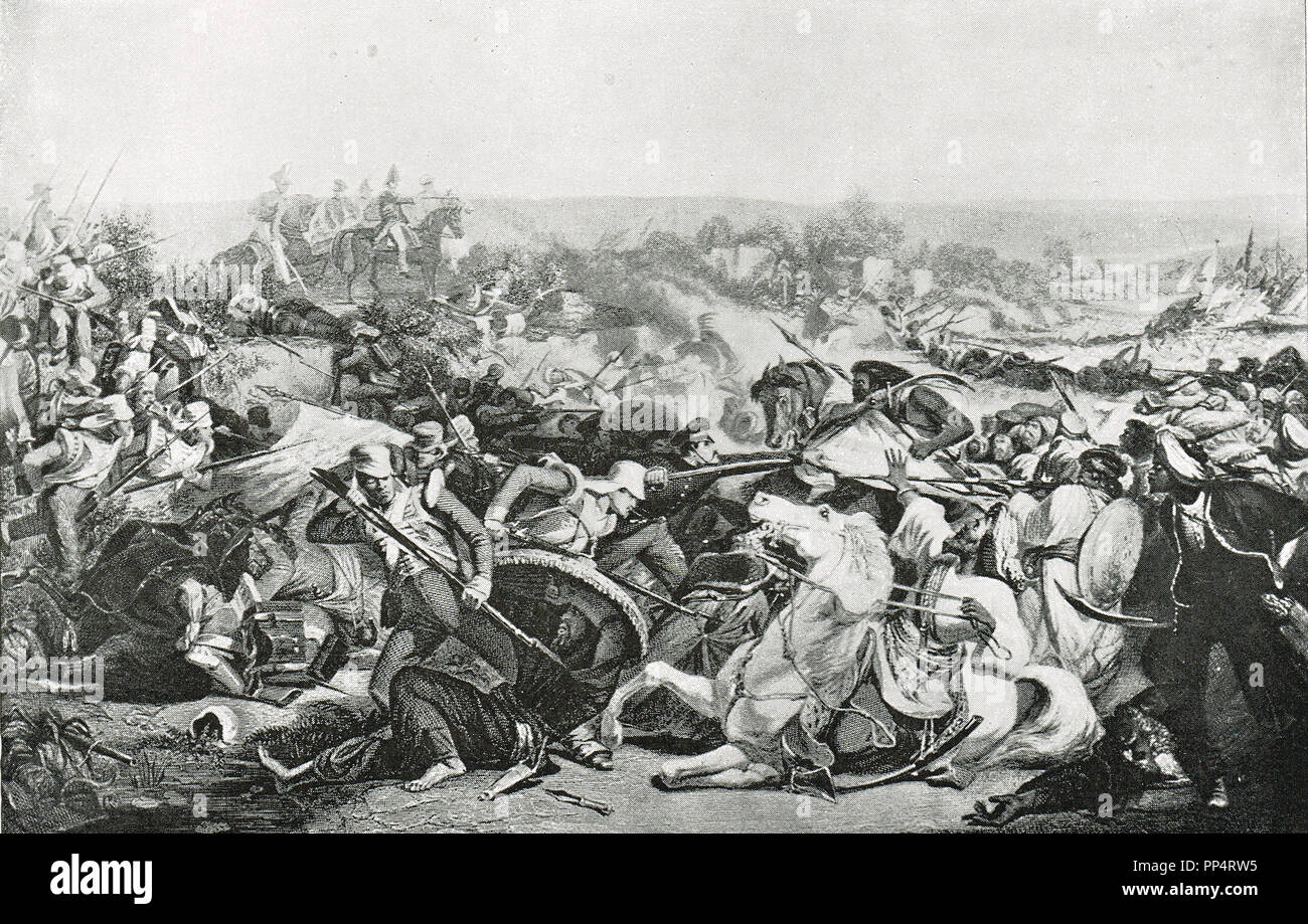 Battle of Meeanee, 17 February 1843, also known as Battle of Miani, fought between British East India company and the Talpur Amirs of Sindh, led to the capture of parts of Sindh region, the first territorial possession by the British East India company in what is present day Pakistan - Stock Image