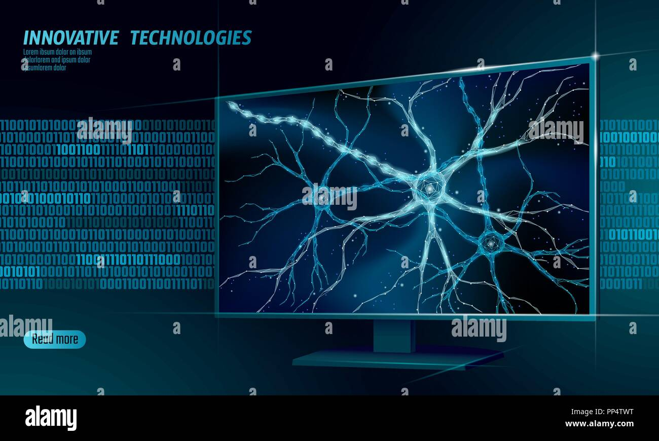 Human neuron low poly anatomy concept. Artificial neural network technology smart house display cloud computing. AI 3D abstract biology system. Polygonal blue glowing vector illustration - Stock Image