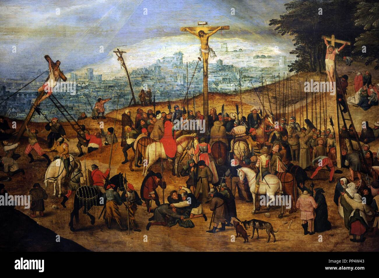 Pieter Brueghel the Younger (1564-1638). Flemish painter. The Crucifixion or The Calvary, 1617. Museum of Fine Arts. Budapest. Hungary. Stock Photo