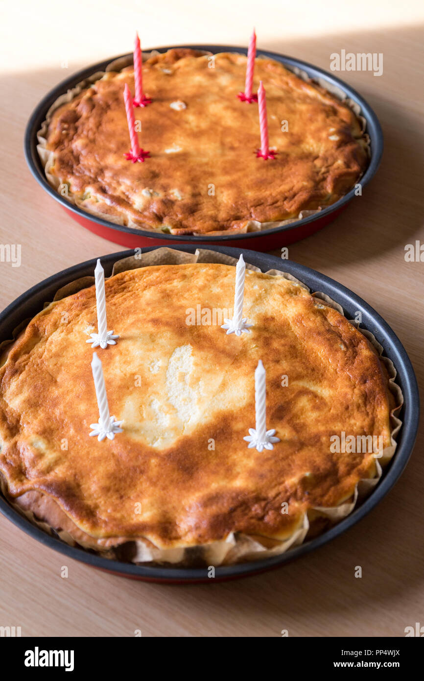 Two Home Made Pies With Fresh Unlit Birthday Candles