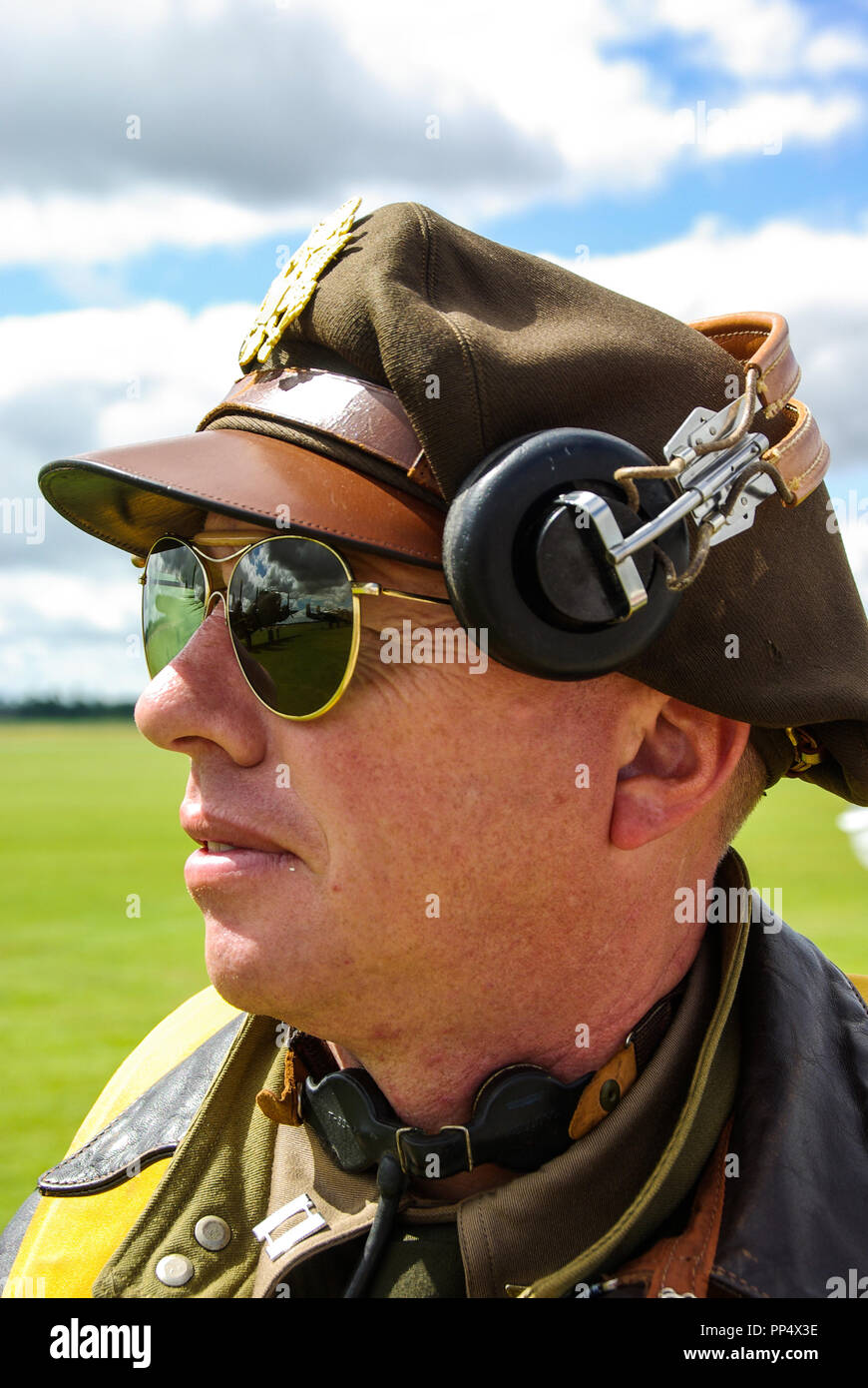 Second World War US Army Air Force bomber pilot re-enactor with