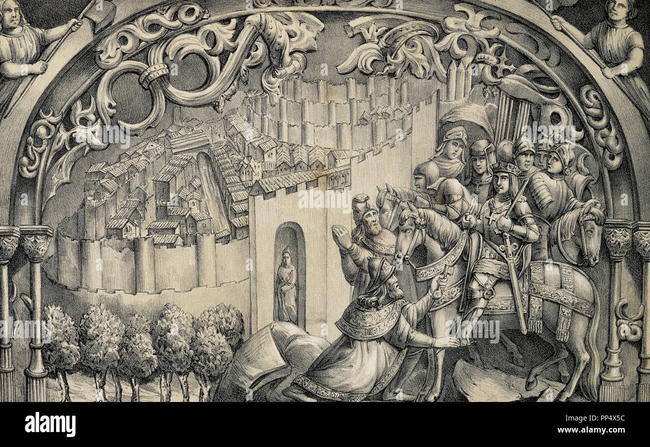 Boabdil (1460-1527), the last Nasrid ruler of Granada, gives the keys of  the city to the Catholic Kings. Lithograph by J. Parra Bachiller  reproducing a ...