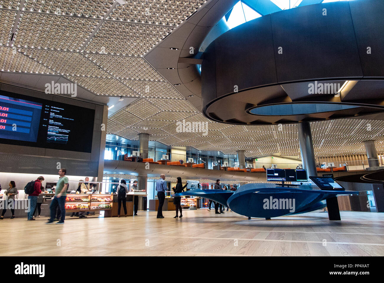The interior of Bloomberg's HQ in London - Stock Image