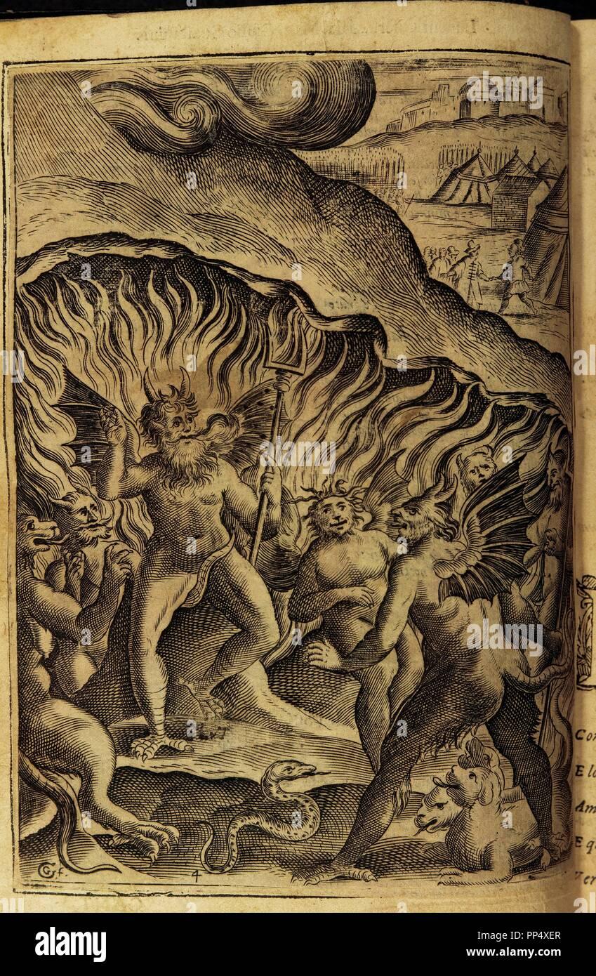 Torquato Tasso (1544-1595). Italian poet. La Gerusalemme Liberata  (Jerusalem Delivered), 1580. Hell. Engraving.