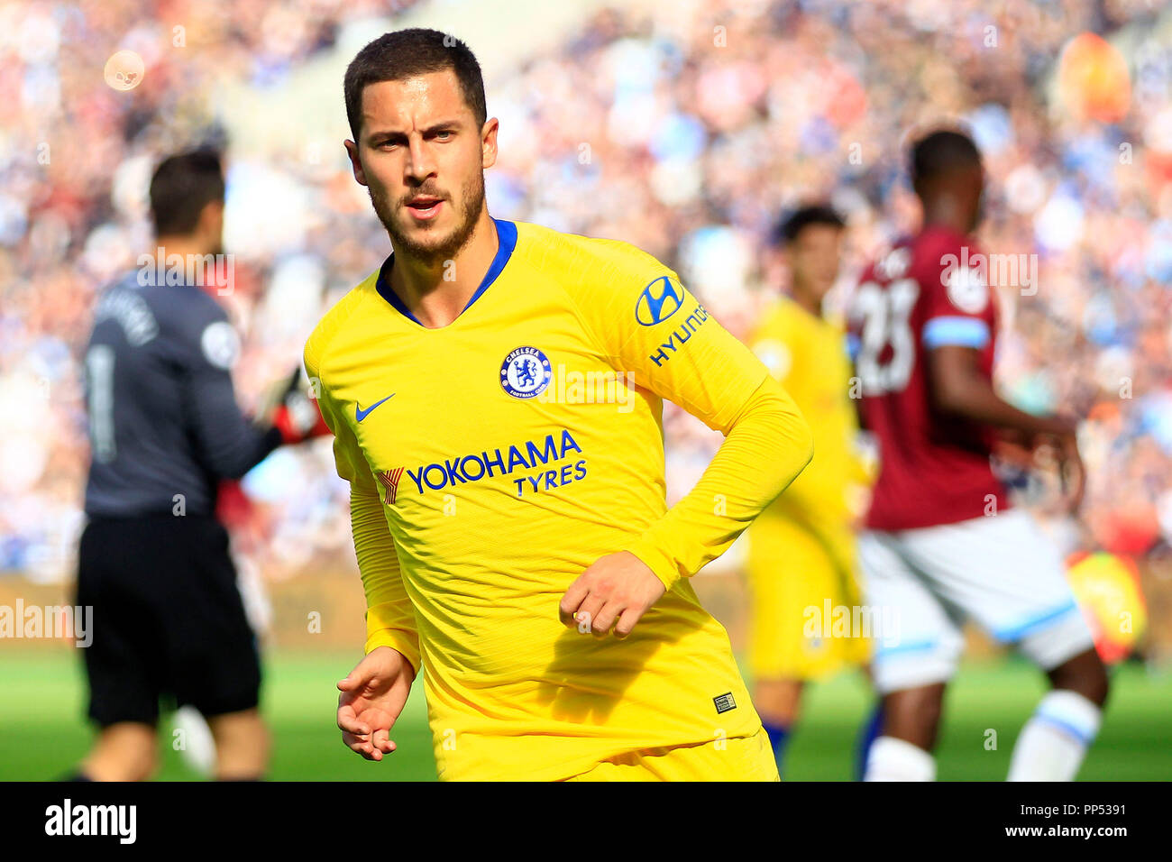 London, UK. 23rd Sept 2018. Eden Hazard of Chelsea looks on. Premier League match, West Ham United v Chelsea at the London Stadium, Queen Elizabeth Olympic Park in London on Sunday 23rd September 2018.  this image may only be used for Editorial purposes. Editorial use only, license required for commercial use. No use in betting, games or a single club/league/player publications . pic by Steffan Bowen/Andrew Orchard sports photography/Alamy Live news Stock Photo