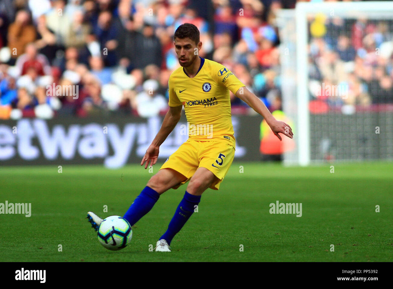 London, UK. 23rd Sept 2018. Jorginho of Chelsea in action.  Premier League match, West Ham United v Chelsea at the London Stadium, Queen Elizabeth Olympic Park in London on Sunday 23rd September 2018.  this image may only be used for Editorial purposes. Editorial use only, license required for commercial use. No use in betting, games or a single club/league/player publications . pic by Steffan Bowen/Andrew Orchard sports photography/Alamy Live news Stock Photo