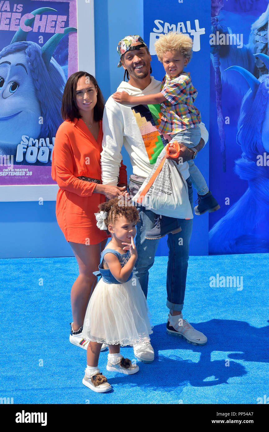 California usa 23rd sept 2018 michael beasley and family attending the smallfoot world premiere at regency village theater on september 22 2018 in
