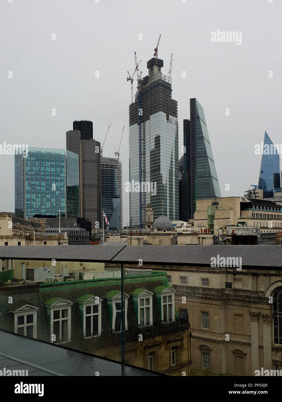 London, UK. 23rd Sept 2018. View of Tower 42 and The Scalpel from the roof top of Bloomberg European Headquarters. Bloomberg takes part in the 26th London Open House weekend Bloomberg's European headquarters is the world's most sustainable office building. Home to the financial technology and information company's 4,000 London-based employees, its unique design promotes collaboration and innovation. Stock Photo