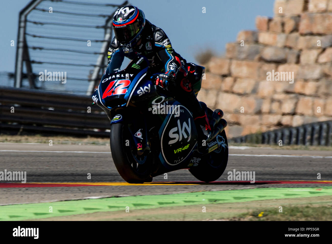 Alcaniz, Spain. 23rd September 2018. Motorcycling MotoGP of Aragon, race day; Moto2 Francesco Bagnaia (SKY racing Team VR46) in action Credit: Action Plus Sports Images/Alamy Live News - Stock Image