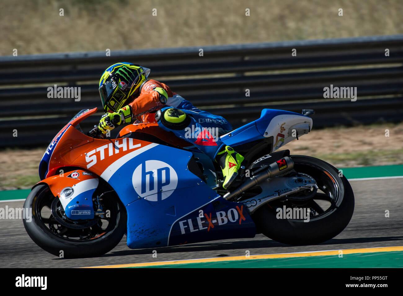 Alcaniz, Spain. 23rd September 2018. Motorcycling MotoGP of Aragon, race day; Moto2 Lorenzo Baldassarri (Pons HP40) in action Credit: Action Plus Sports Images/Alamy Live News - Stock Image
