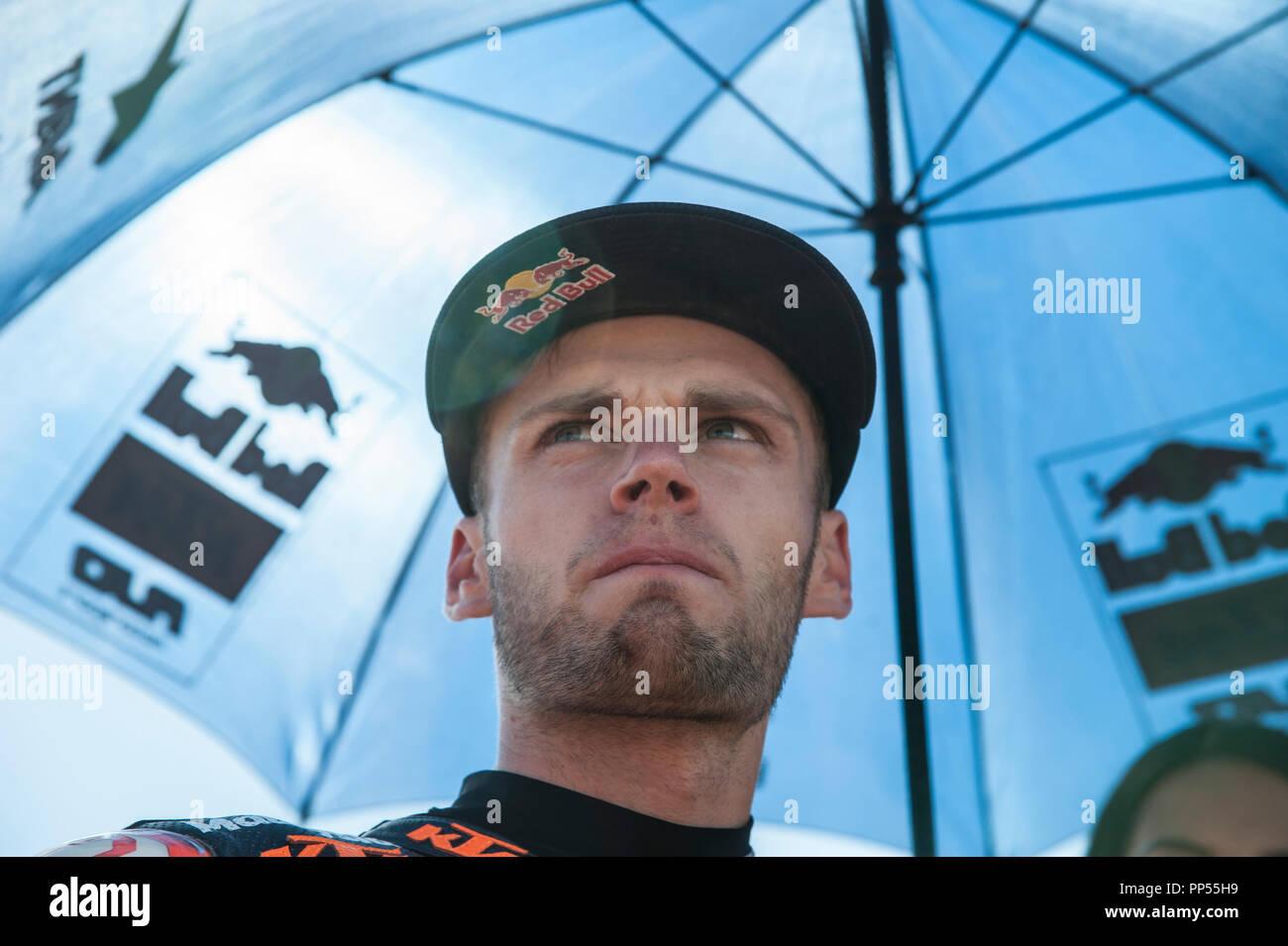 Alcaniz, Spain. 23rd September 2018. Motorcycling MotoGP of Aragon, race day; Moto2 Brad Binder (Red Bull KTM Ajo) on grid Credit: Action Plus Sports Images/Alamy Live News - Stock Image