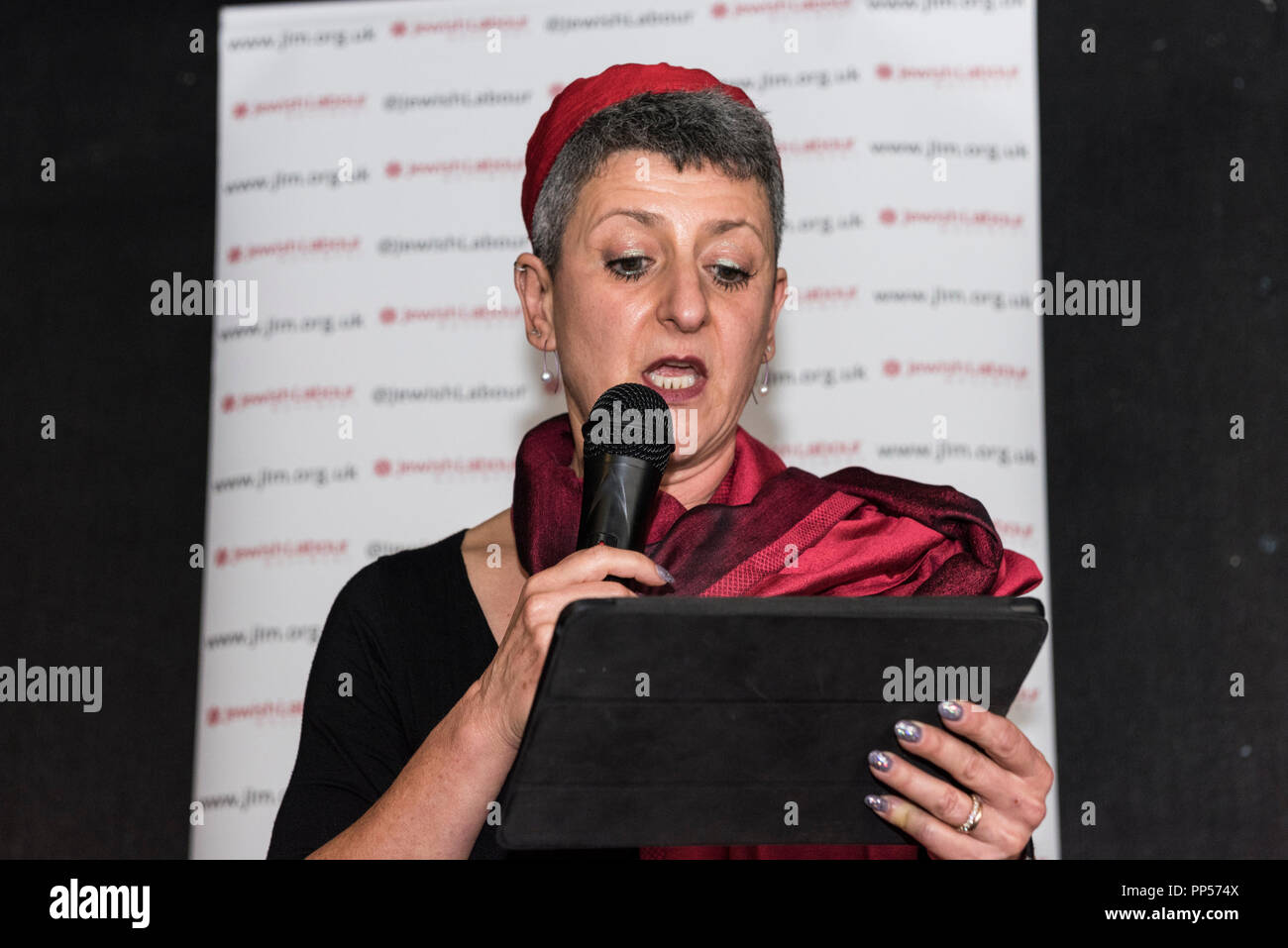 Liverpool, UK. 23rd Sept 2018. Rabbi Laura Janner-Klausner head of Reform Judaism speaking at the Jewish Labour Movement fringe rally at Labour Conference. A packed room, welcomed many speakers. Credit: Rena Pearl/Alamy Live News - Stock Image