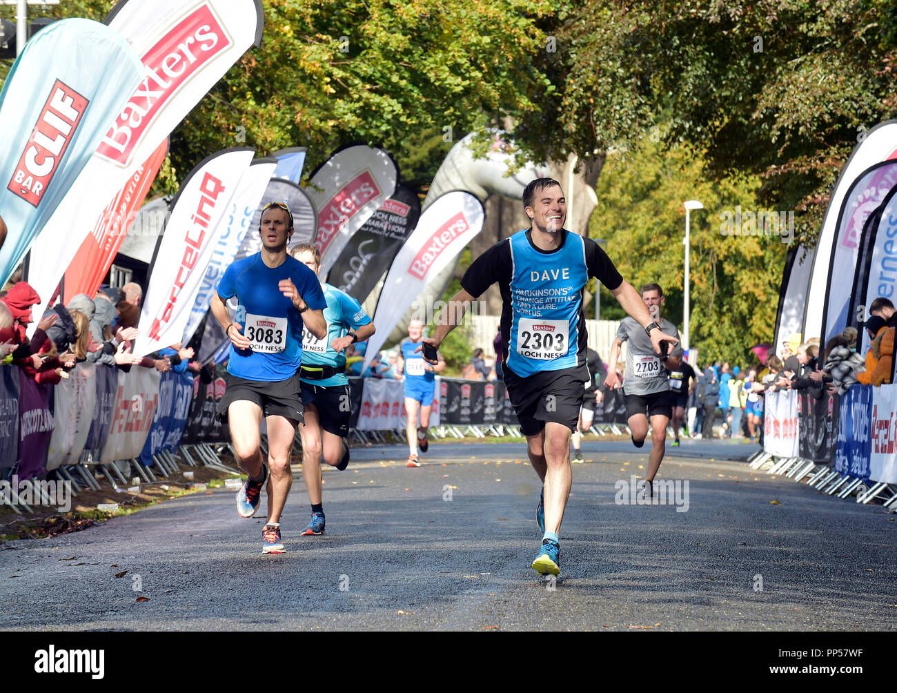 Scotland, UK. 23rd Sept 2018. © Sandy young Photography 07970 268944 2018 Baxters Loch Ness Marathon PICTURED runners at the finish line in Inverness.     E: sandy@scottishphotographer.com W: www.scottishphotographer.com  **Editorial use only**no photo sales**no marketing** credit must read scottishphotographer.com** Credit: sandy young/Alamy Live News - Stock Image
