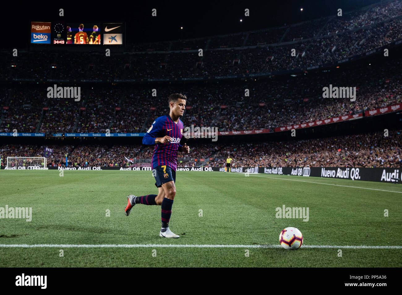 Barcelona, Spain. 23rd September, 2018. during the La Liga game between FC Barcelona against Girona in Camp Nou Stadium at Barcelona, on 23 of September of 2018, Spain. 23rd Sep, 2018. Credit: AFP7/ZUMA Wire/Alamy Live News - Stock Image