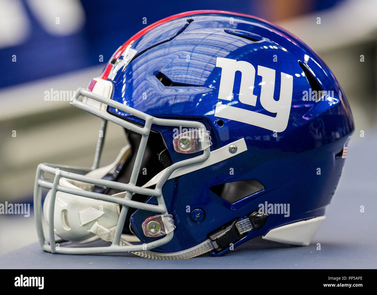 A New York Giants helmet sits on the sideline during the 2nd quarter of a  NFL football game between the Houston Texans and the New York ... 95dfb8ef2