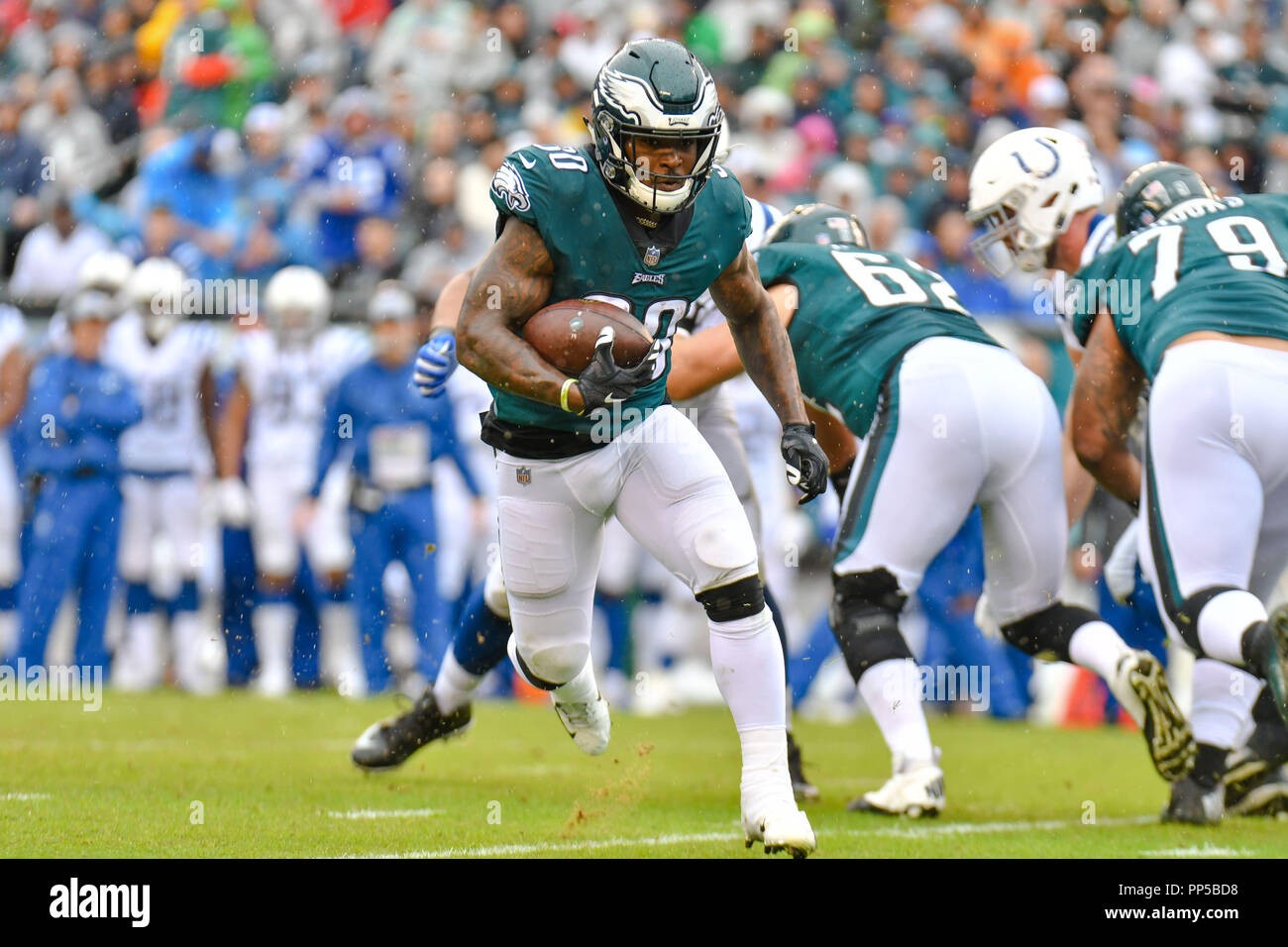 Philadelphia, Pennsylvania, USA. 23rd Sep, 2018. Corey Clement (30) of the Philadelphia Eagles carries the ball during a game against the Indianapolis Colts at Lincoln Financial Field in Philadelphia, Pennsylvania. Gregory Vasil/Cal Sport Media/Alamy Live News - Stock Image