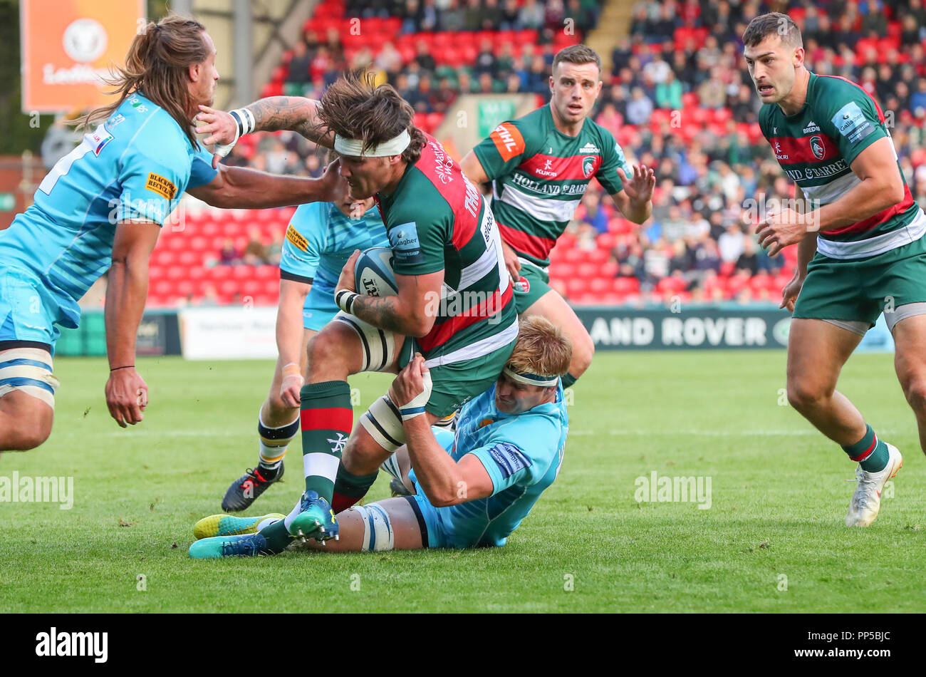 Leicester, UK. 23rd September, 2018. Premiership Rugby Union.     Leicester Tigers v Worcester Warriors  rfc.           Guy Thompson in action during the Gallagher Premiership game played at Welford Road Stadium, Leicester, England. Credit: Phil Hutchinson/Alamy Live News - Stock Image