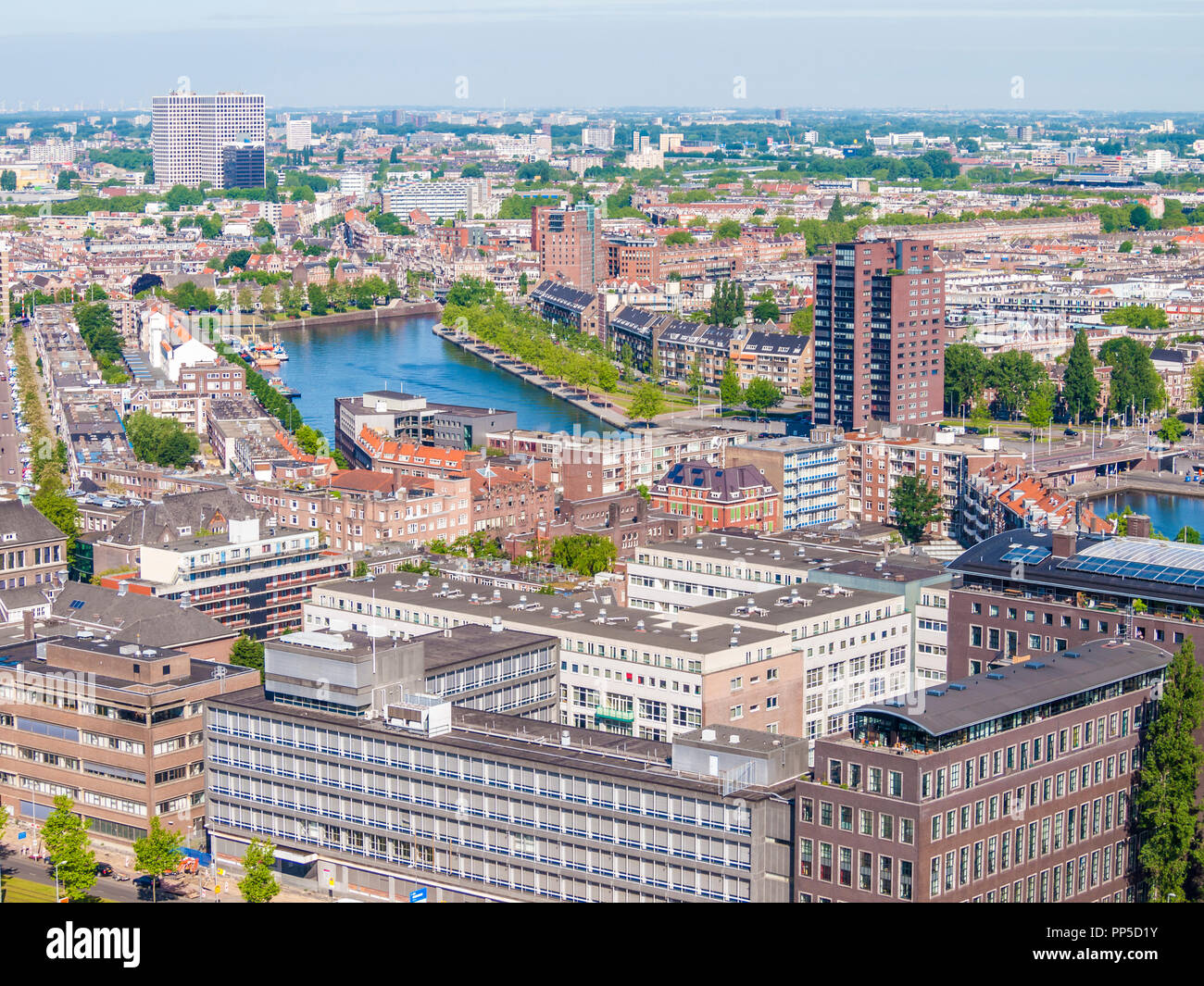 panoramic view of the city and canal of Rotterdam in the Netherlands Holland - Stock Image