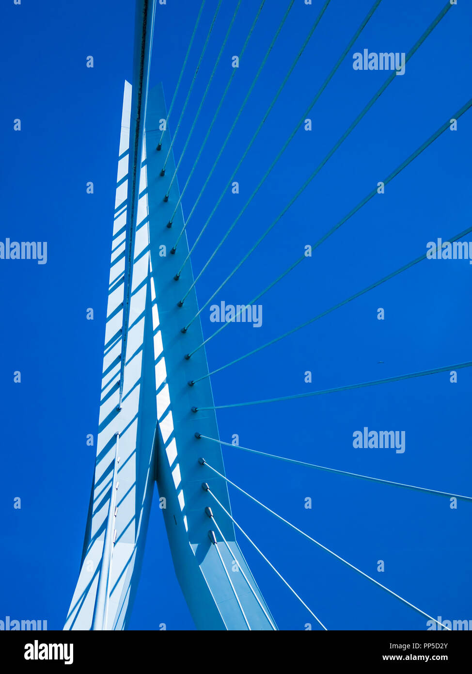 Image of part of a Erasmus bridge with a blue sky background in Rotterdam in the Netherlands Holland Stock Photo