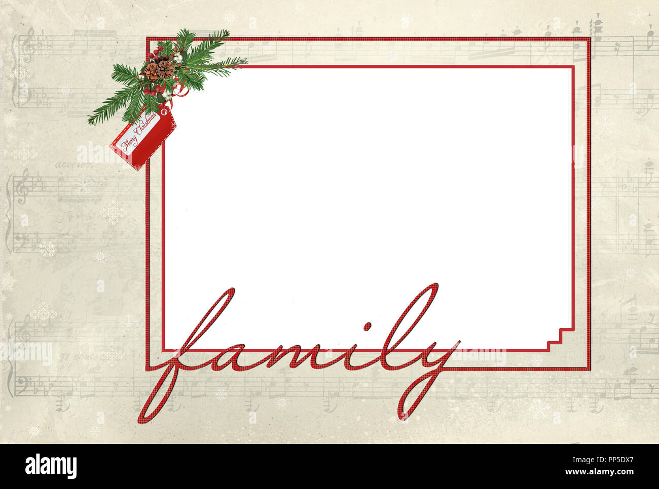 red frame with family script font text and Christmas pine