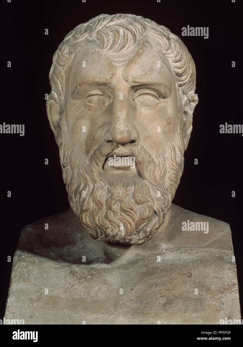 Bust of Zeno of Citium (335-264 BC), Greek philosopher and founder of stoicism.. Rome, museum of the Capitole. Location: MUSEO CAPITOLINO. Rome. ITALIA. - Stock Image