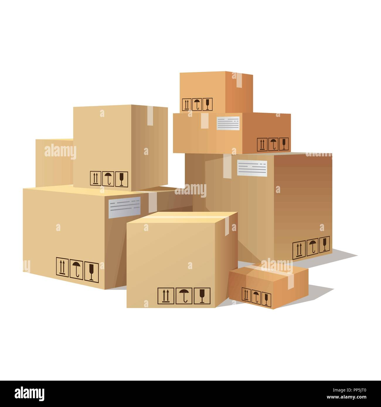 Many cartons,boxes of different size, pile of package - Stock Vector