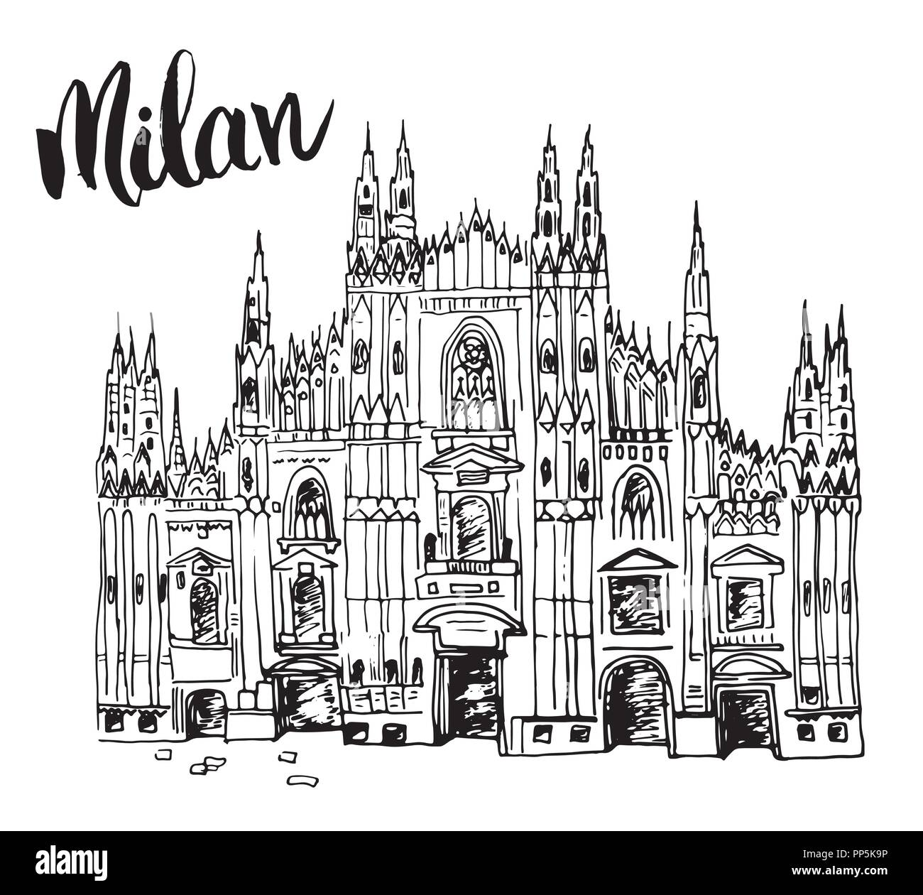 Duomo cathedral in Milan, Italy. Hand drawn sketch of Italian famous church building with lettering Milan, vector illustration isolated on white backg - Stock Vector