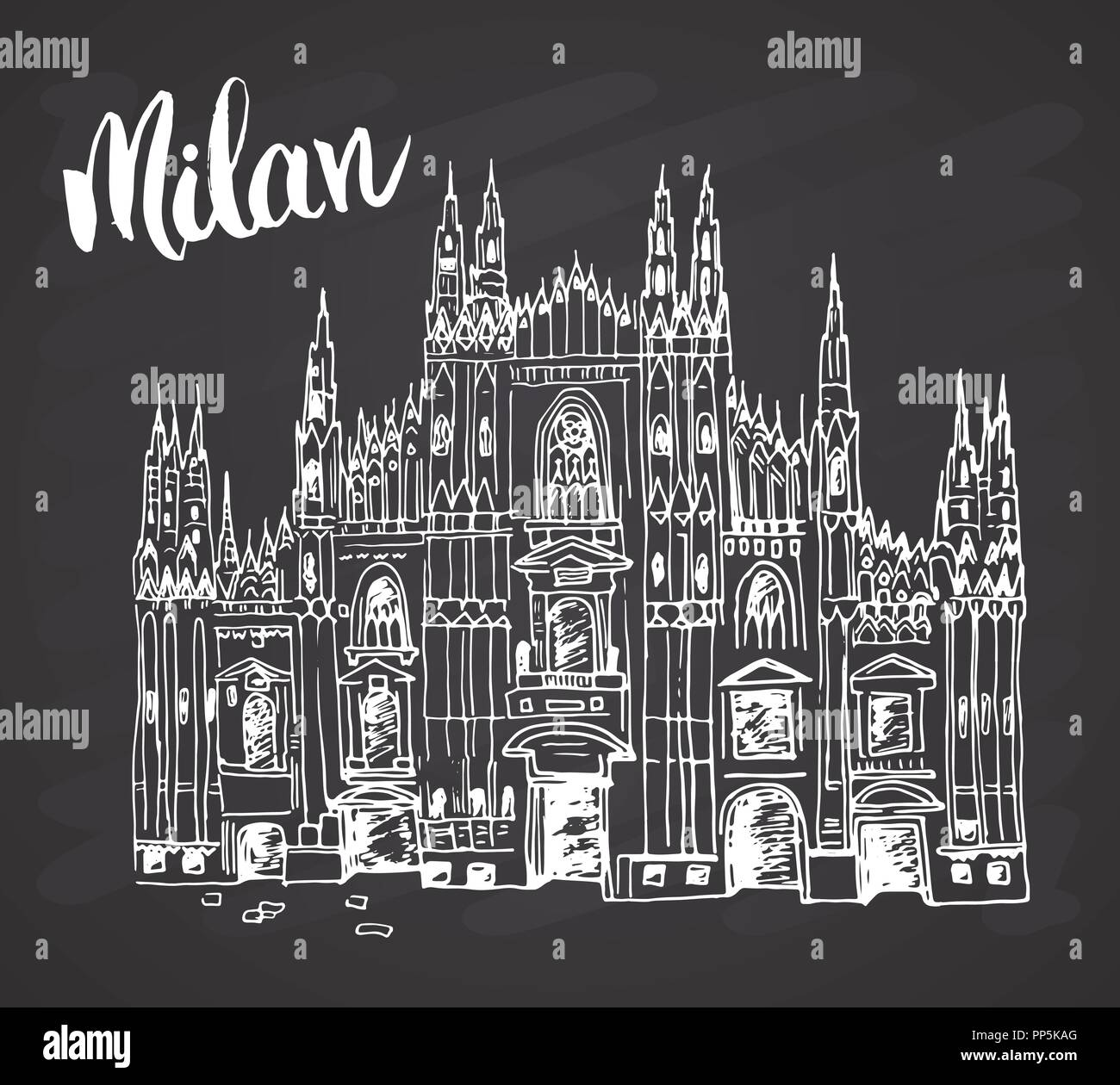 Duomo cathedral in Milan, Italy. Hand drawn sketch of Italian famous church building with lettering Milan, vector illustration on chalkboard backgroun - Stock Vector