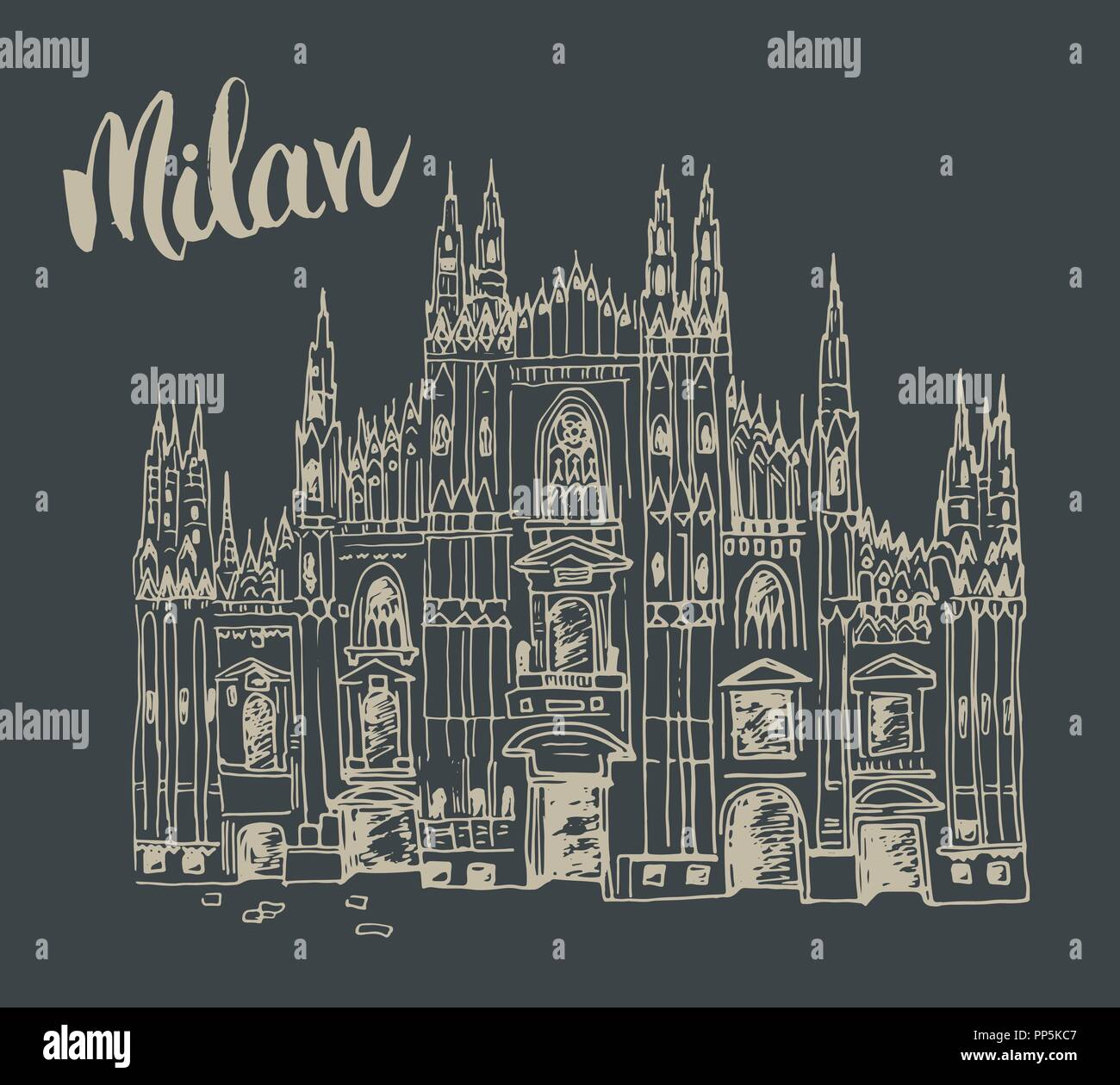 Duomo cathedral in Milan, Italy. Hand drawn sketch of Italian famous church building with lettering Milan, vector illustration - Stock Vector