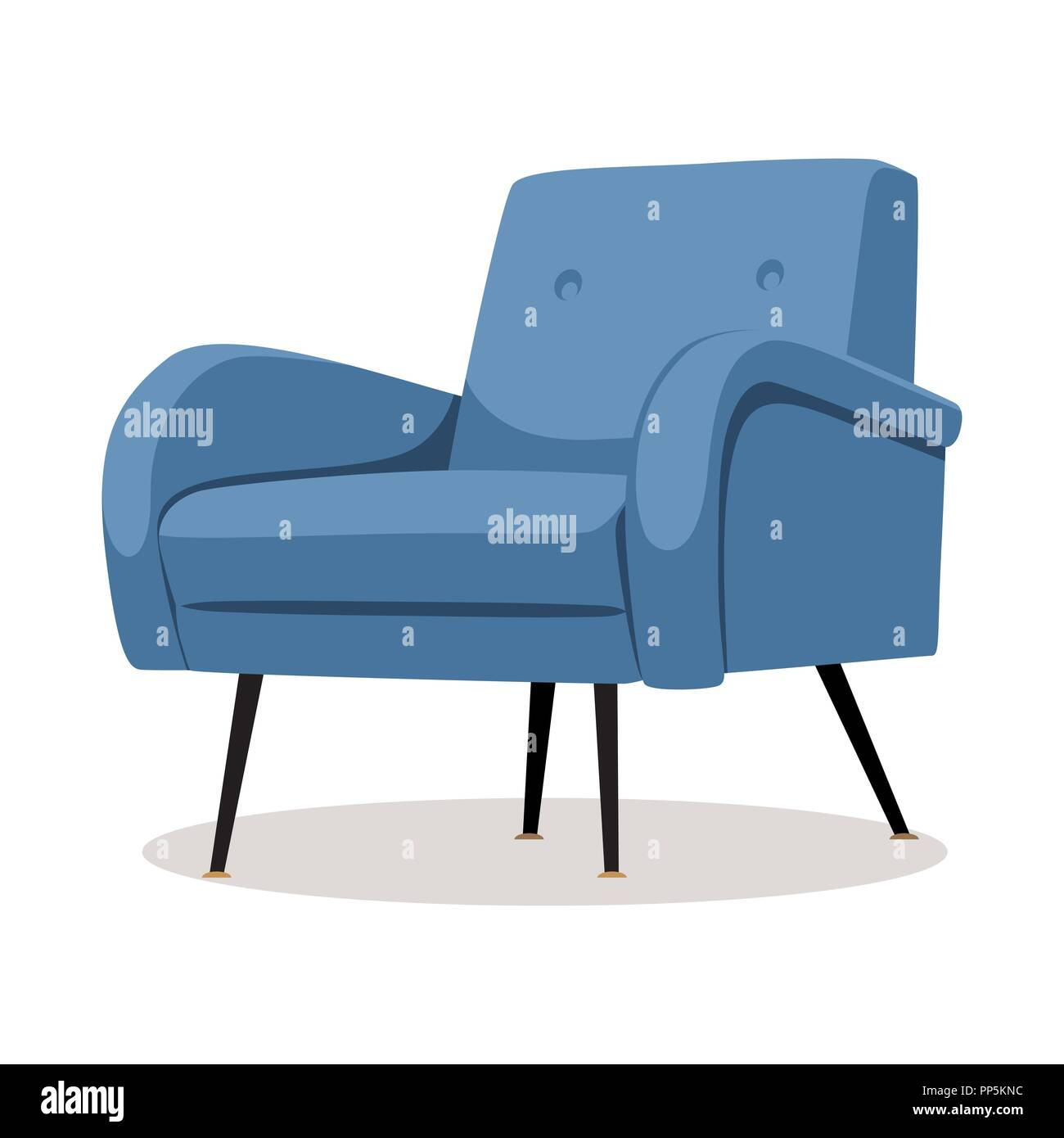 Modern blue soft armchair with upholstery interior design element isolated on white background