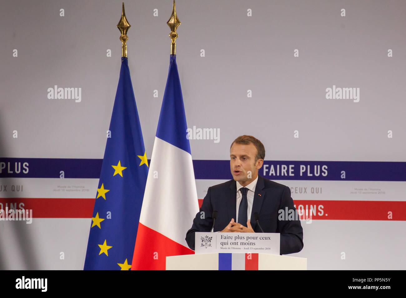 Speech Emmanuel Macron at the Musée de l'Homme Paris on the poverty plan - Stock Image