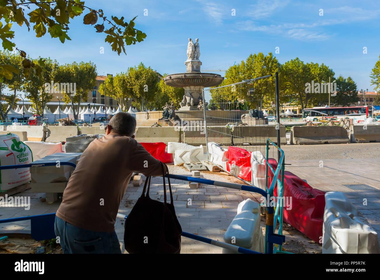 Construction Aix En Provence aix-en-provence, france, man looking at tram construction