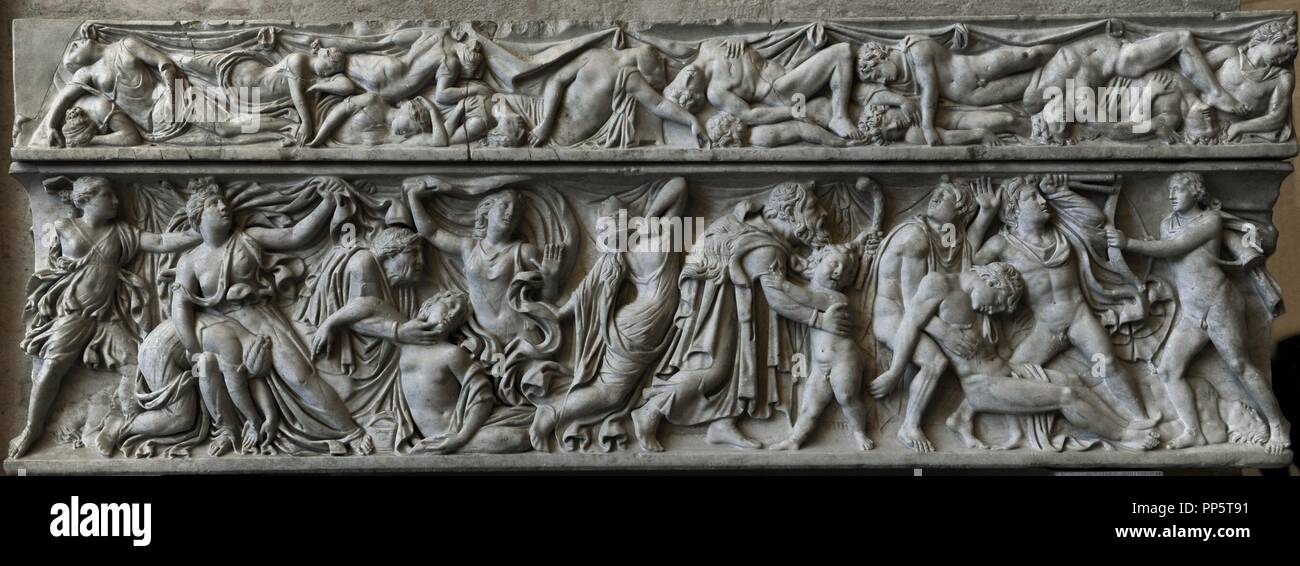 Roman sarcophagus. About 160 AD. Apollo and Artemis kill Niobe's 14 children. Revenge of Leto. Send your children Apollo and Artemis killing the children of Niobe. Glyptothek. Munich. Germany. - Stock Image