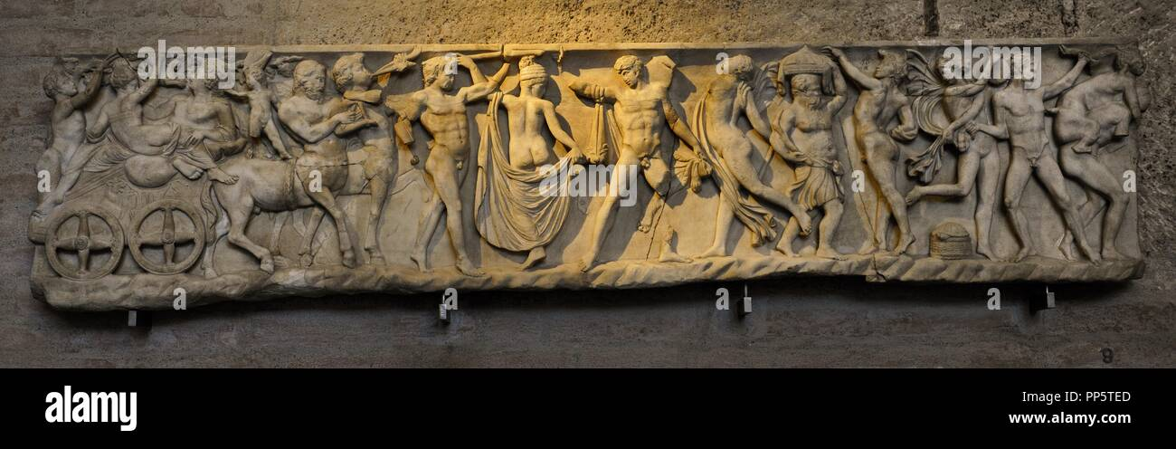 Front side of sarcophagus. Modern work after 2nd century AD originals. Marriage of Dionysus and Adriane. Glyptothek. Munich. Germany. Stock Photo