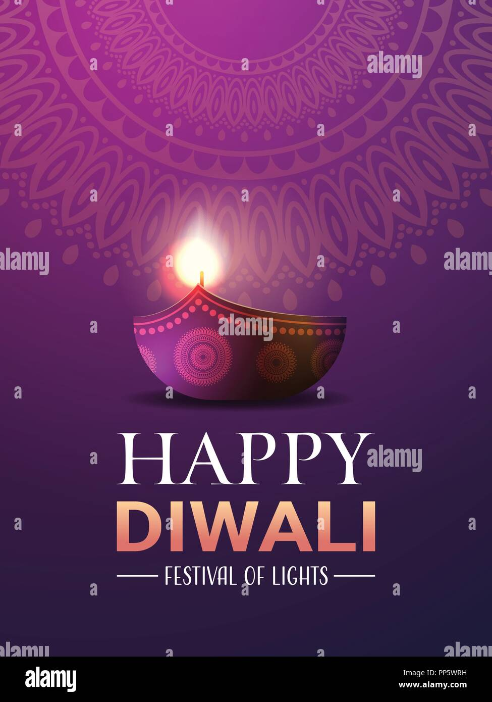 happy diwali traditional indian lights hindu festival celebration holiday concept flat greeting card template invitation vertical copy space Stock Vector