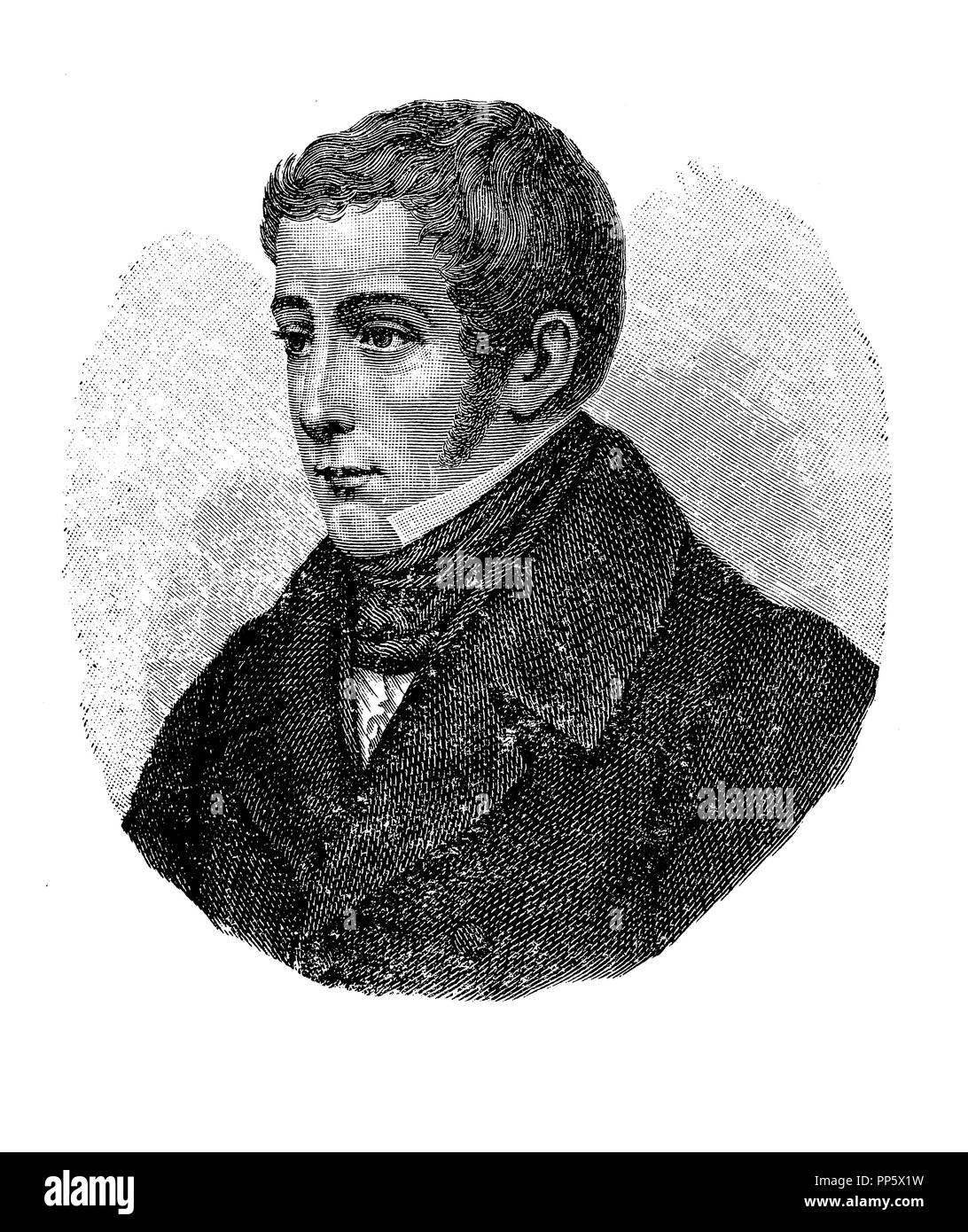 Engraving portrait of Giovanni Berchet (1783-1851), italian poet, patriot, influent in Italian Romanticism. - Stock Image
