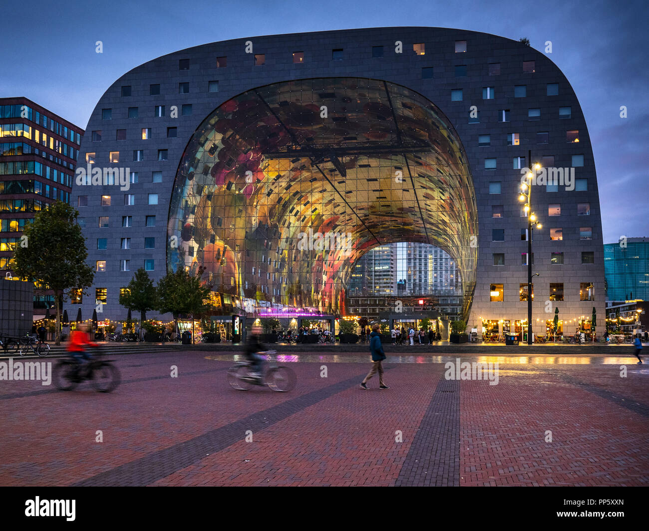Rotterdam Markthal Rotterdam Market Hall opened 2014 comprises a large market hall with residential apartments and offices above. Architect MVRDV Stock Photo