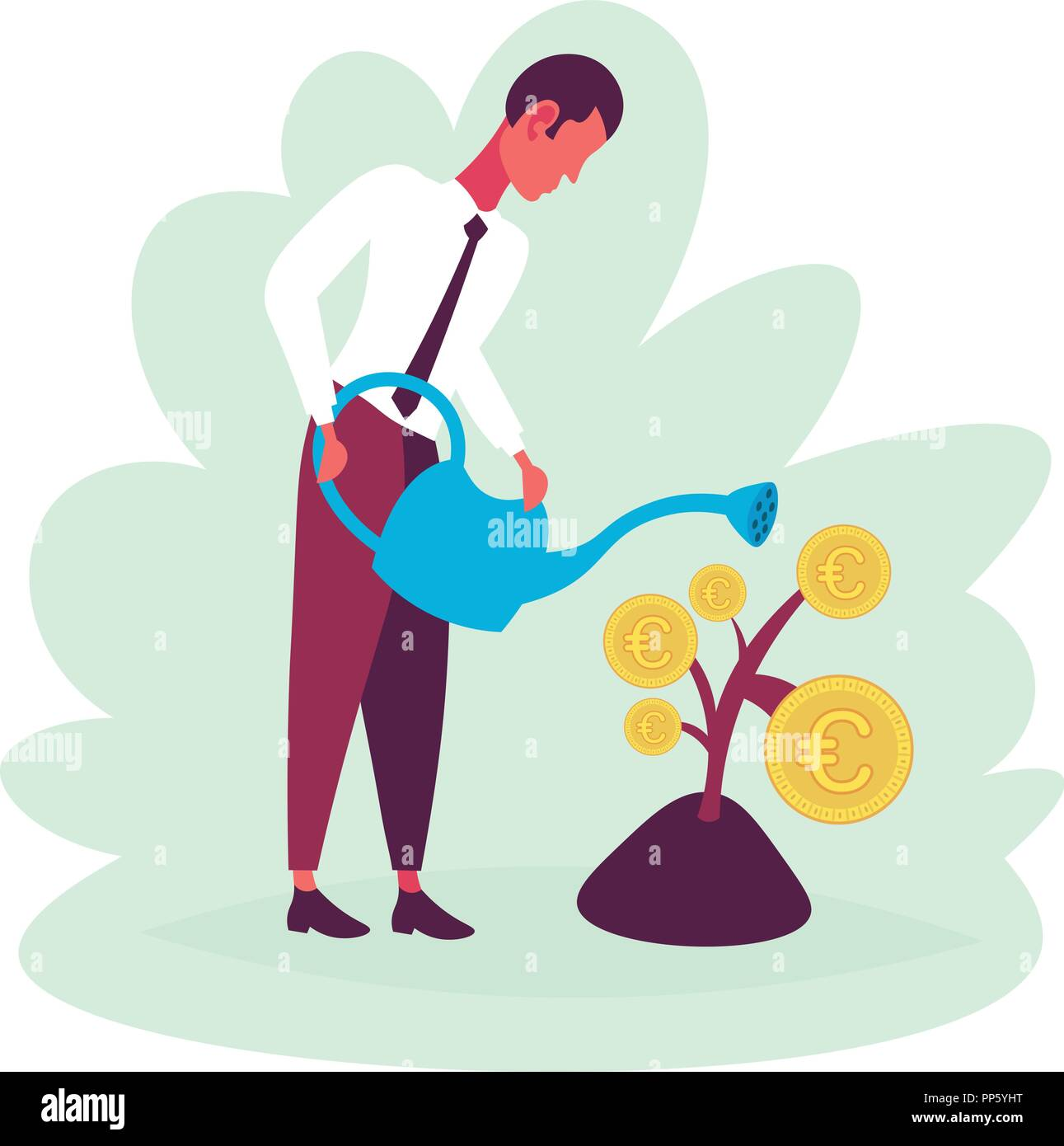 Businessman Watering Money Plant Growth Wealth Concept Future