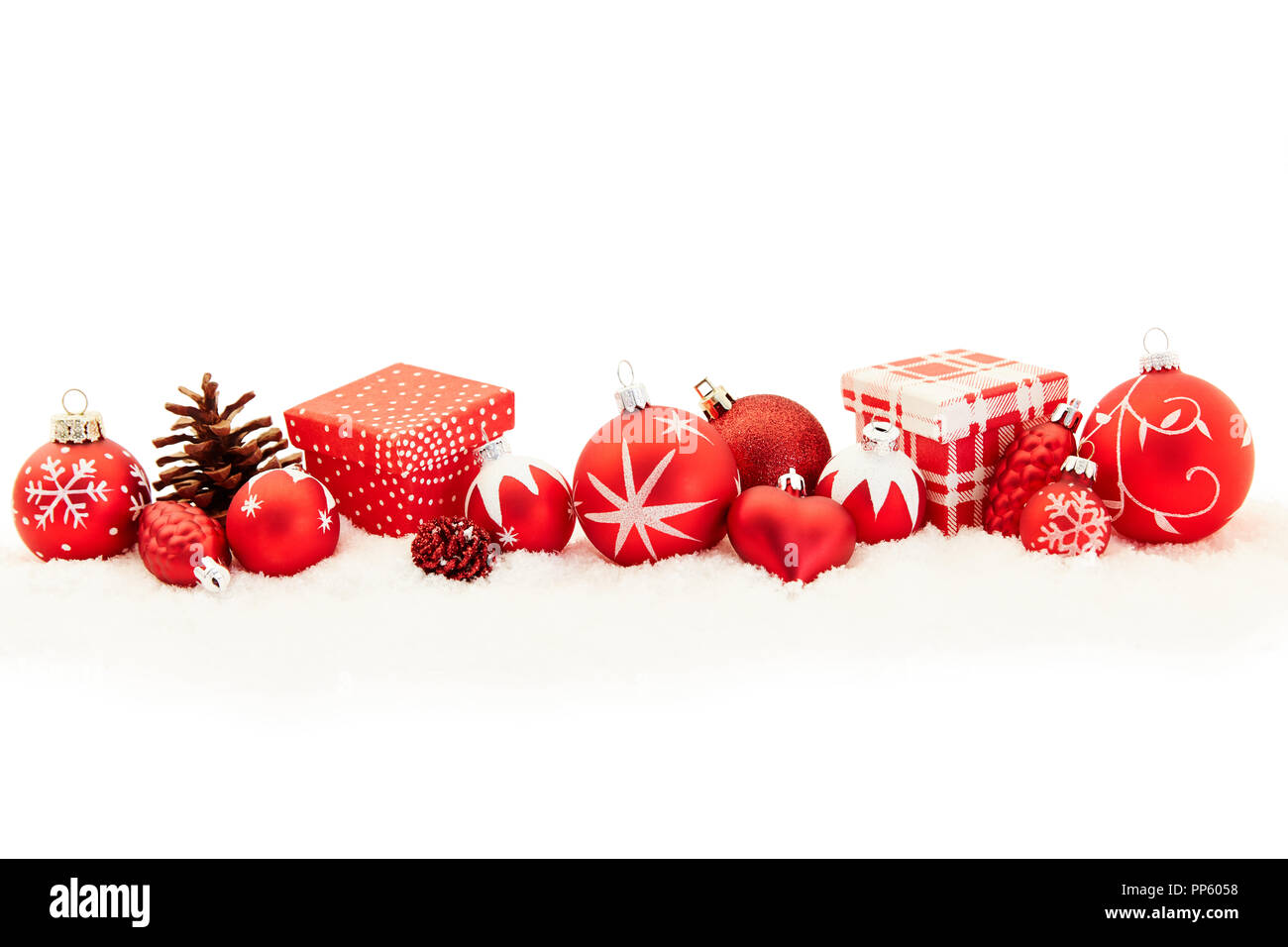 Red Christmas Header Background Banner with Gifts and Decoration ...