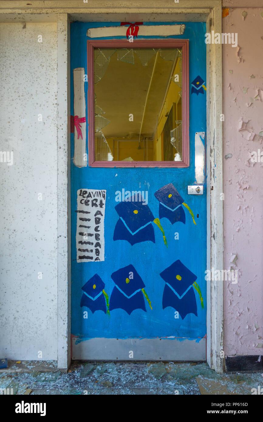 School Classroom Doors On Classroom Doors In Derelict And Abandoned School Building Thatu0027s Been Vandalised