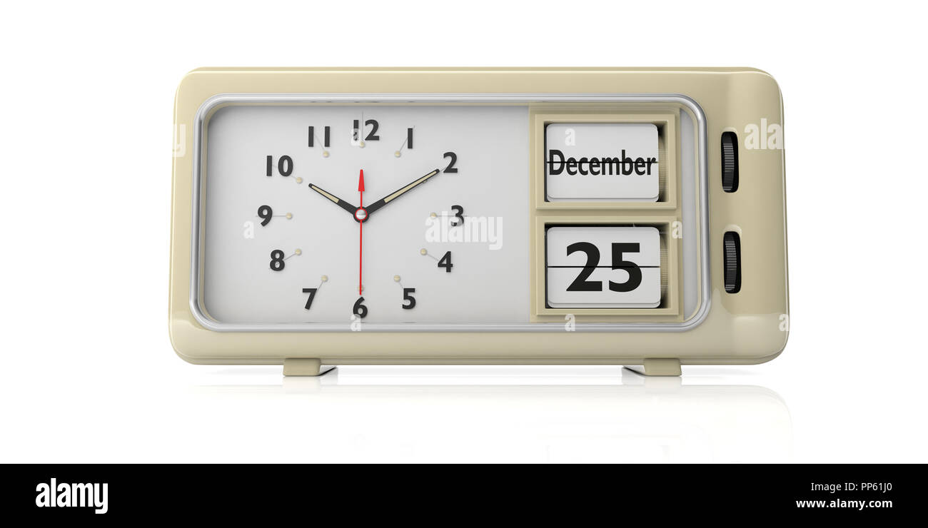 Timer From Old Quartz Clock Electronics For You Christmas Time Retro Alarm With Date December 25th Isolated On White Background 3d Illustration