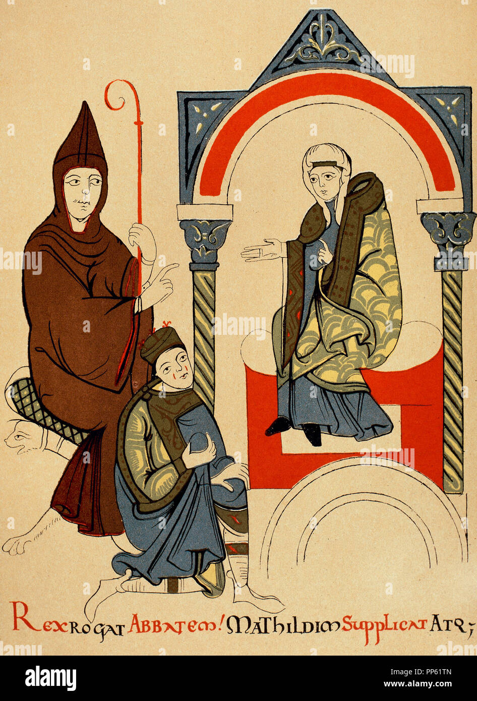 Matilda, Countess of Tuscany, sits on a throne framed by an archway. Her cousin, Holy roman Emperor Henry IV (1050-1106) kneels before her in supplication. Behind him, the Abbot Hugh of Cluny sits on an elaborate seat holding a crosier. Italy. 12th century. Medieval miniature, facsimile. Stock Photo