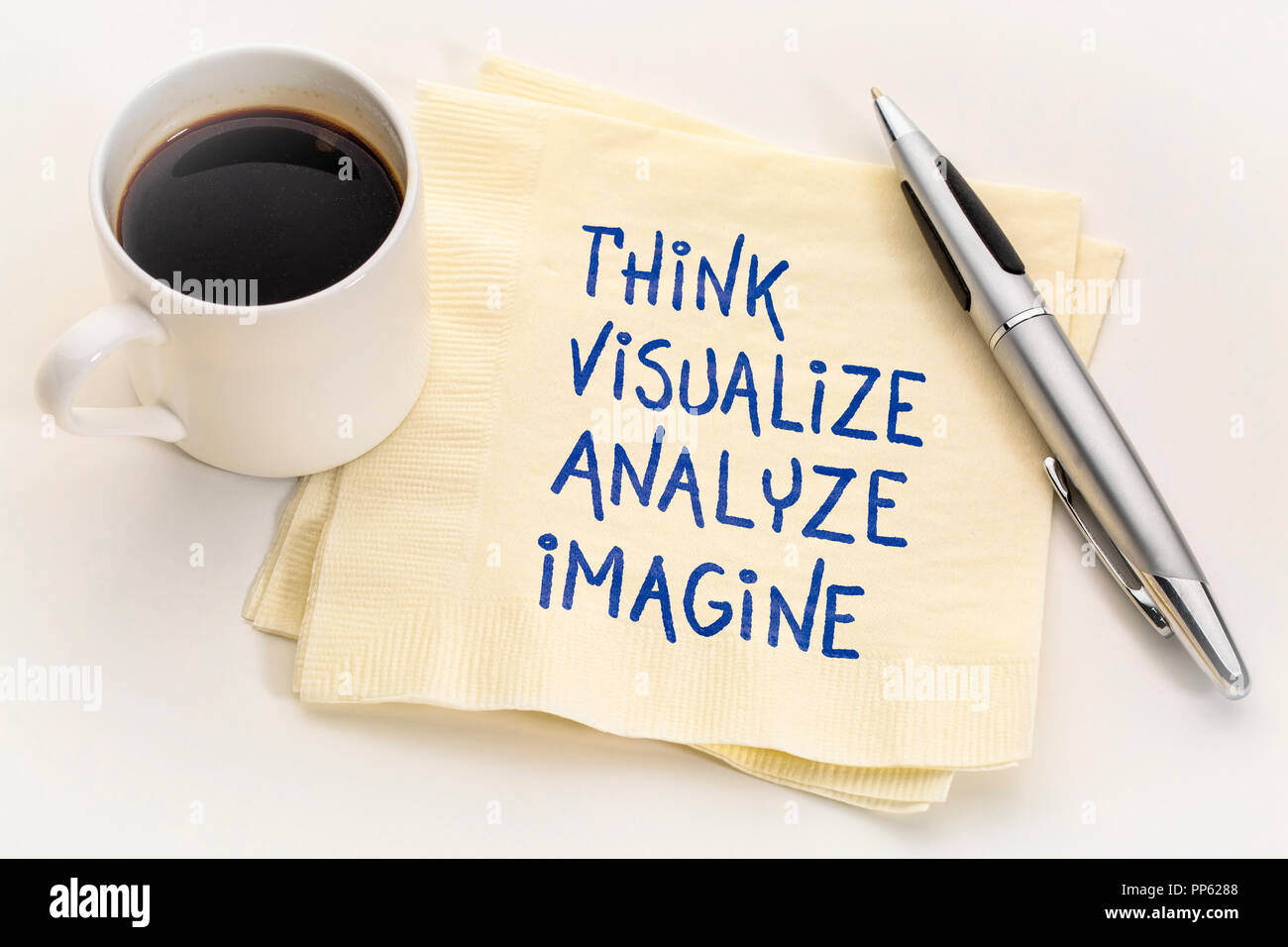 think, visualize, analyze and imagine - inspirational handwriting on a napkin with a cup of coffee - Stock Image