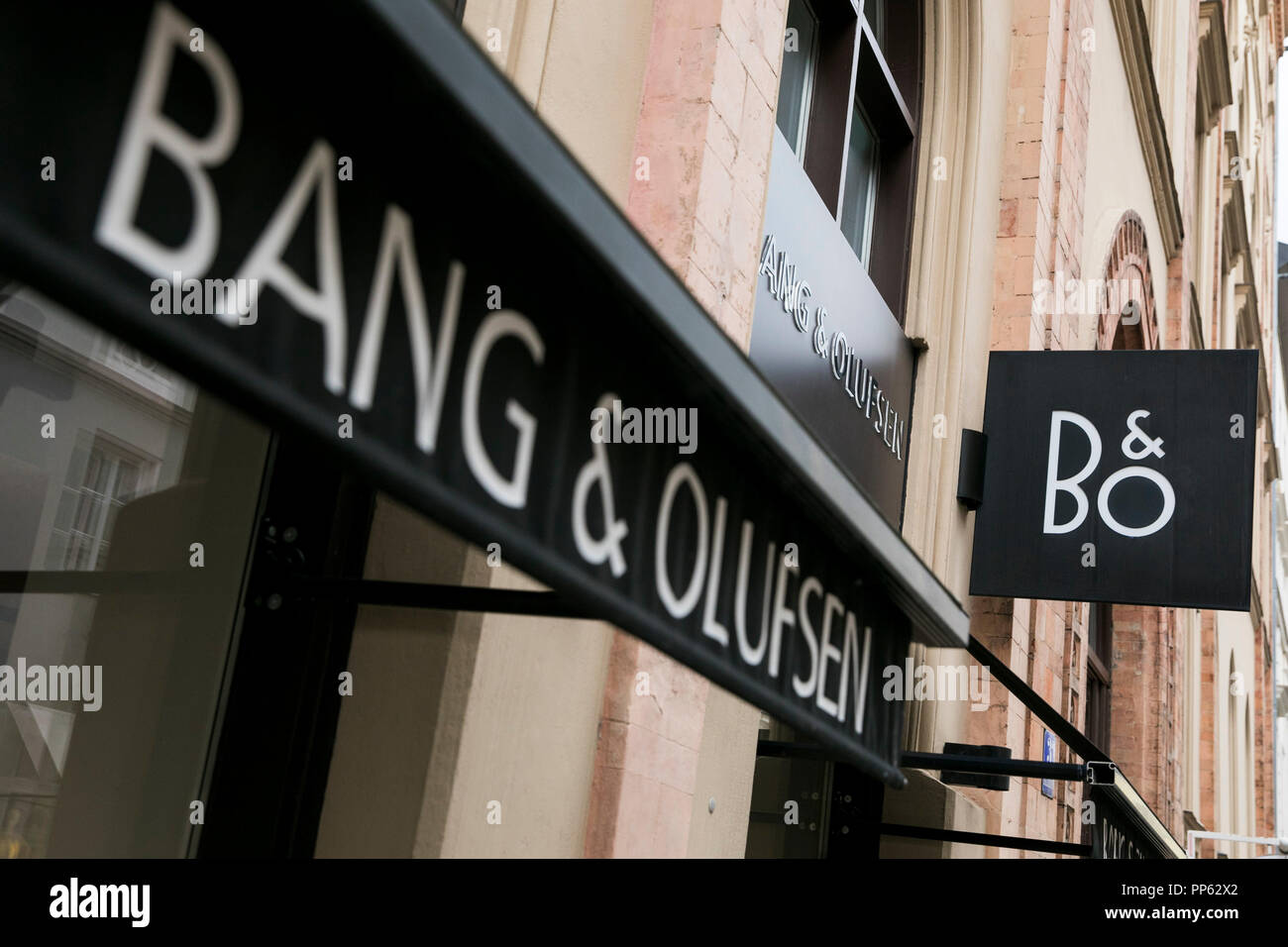 A logo sign outside of a Bang & Olufsen retail store in Munich, Germany, on September 2, 2018. - Stock Image