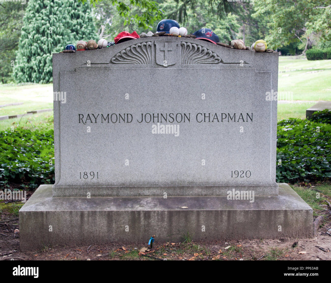 Grave of Ray Chapman the only baseball player ever killed by a baseball in Cleveland Ohio - Stock Image
