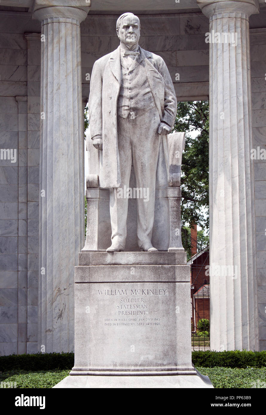 President William McKinley statue in his hometown of Niles, Ohio - Stock Image